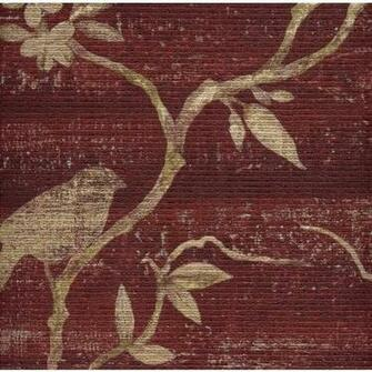 Beige Asian Branches with Birds on Textured Reddish Burgundy Wallpaper