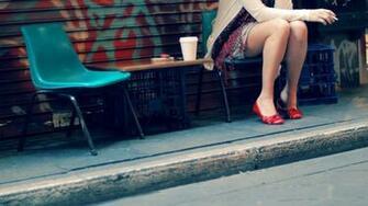 Legs Women Wallpaper 1366x768 Legs Women Cups Shoes Chairs Street