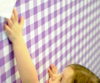 Giddy Gingham Removable Wallpaper in Very Purple by Pop Lolli