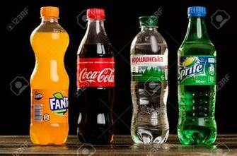 Coca Cola Fanta Sprite And Morshynian On A Dark Background Stock