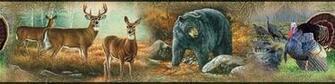 Wildlife Animals Lodge Wall Border