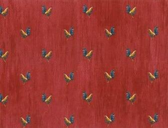 Details about KITCHEN Roosters Country Red Wallpaper KC18588