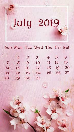 July 2019 Baby pink Background iPhone Calendar july