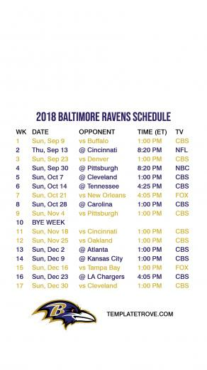 2018 2019 Baltimore Ravens Lock Screen Schedule for iPhone 6 7 8 Plus