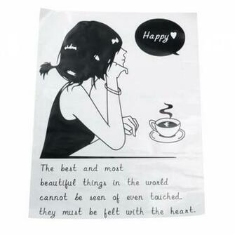 All matching Removable Wallpaper Wall Stickers with Coffee and Girl