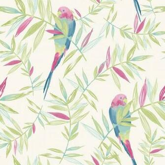 Bird Pattern Tropical Leaf Leaves Painted Motif Wallpaper 209204