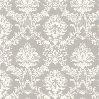 White on Gray Victorian Stencil Floral Damask Wallpaper CiCis City