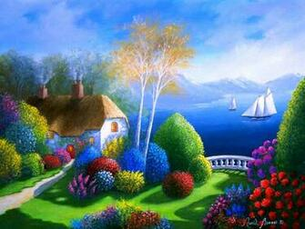Colorful view art boat flower house painting path tree 212331
