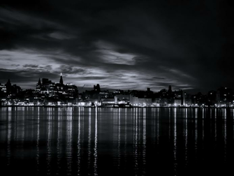 Black and White River City Light wallpaper