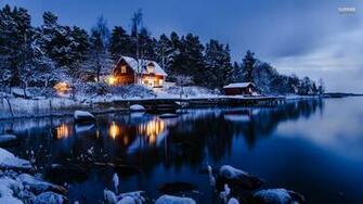 lakeside winter cabin 25436 1920x1080