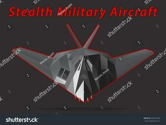 Stealth Military Aircraft Black Background Vector Stock Vector