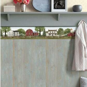 York Wallcoverings 9 L x 15 W Farmhouse Scenic Wallpaper Border