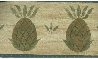 Home Brown and Blue Fruit Pineapple Wallpaper Border