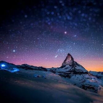 Samsung Galaxy Tab 101 Stars and snow night in the Alps wallpapers