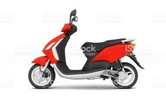 3d Rendering Of Red Modern Motor Scooter Isolated On White