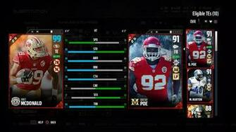 Vance MCDonald Season Stars 99 Ovr while out of position