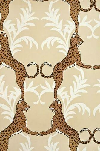 Cheetah Wallpaper Beige wallpaper with white floral motif entwined