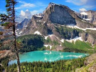 Download wallpaper Glacier National Park Mountains lake landscape