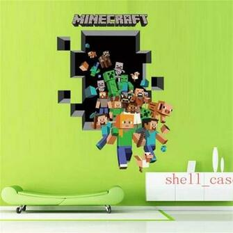 3D Minecraft through Wall Stickers Creeper Decorative Steve Dig Wall