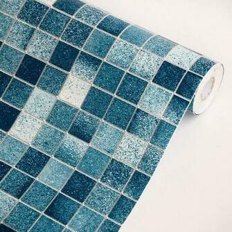 Blue Mosaic   Self Adhesive Wallpaper Home DecorRoll Best