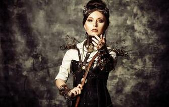 Wallpaper girl steampunk wire corset glasses style wallpapers