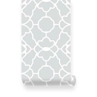 Large Trellis Pattern Grey Removable Wallpaper   Peel Stick
