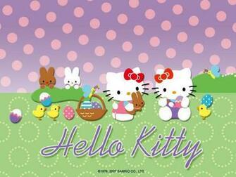 Hello Kitty cute Easter bunny desktop wallpaper background 1024x768