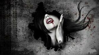 dark horror fantasy art gothic women vampires blood face wallpaper