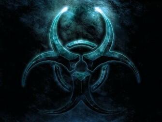 biohazard blue logo symbol