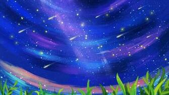 Deep Blue Sky Aerial Shooting Star Cartoon Background Grassland