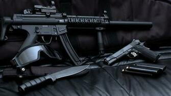 Sniper Gun Pistol Ammo Collection Wallpaper   StylishHDWallpapers