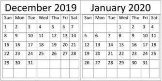 December January 2020 Calendar Holidays Template Latest