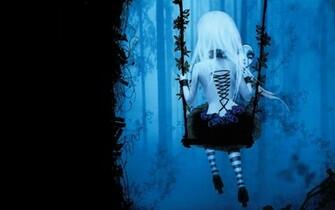 Dark gothic anime fantasy trees fog mood girl women swing wallpaper