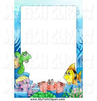 Clip Art of a Border of Sea Creatures Around White Space by visekart