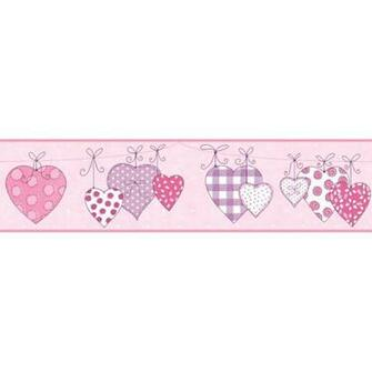 Hanging Hearts Pink Prepasted Wall Border   Wall Sticker Outlet