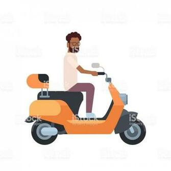 African Man Riding Electric Scooter Over White Background