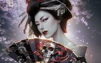 Japanese Girl Geisha Skull Art HD Wallpaper