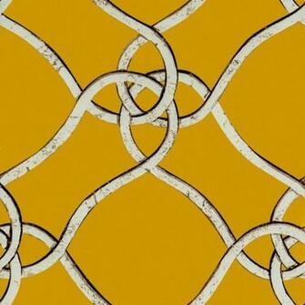 Verona by Gaston Silver Ironwork Trellis on Mustard Yellow Wallpaper