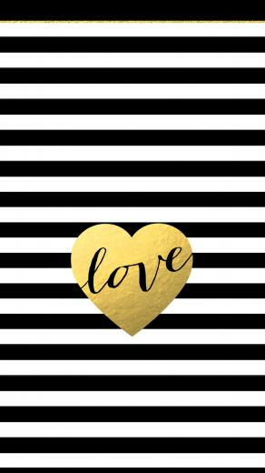 Black white stripes gold heart love iphone phone background