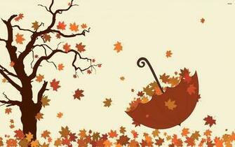 Umbrella and fallen leaves wallpaper   1009324