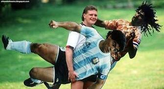Paul Gascoigne Poses With Ruud Gullit And Maradona Funny