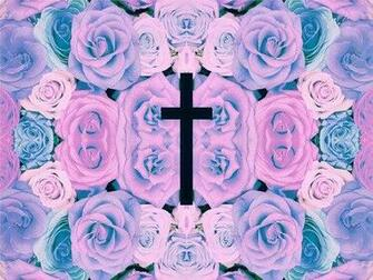 cross text pastel pastel background pastel goth pastel flowers
