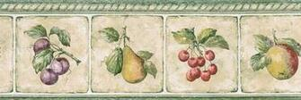Details about KITCHEN TILES FRUITS PEAR CHERRIES Wallpaper Border