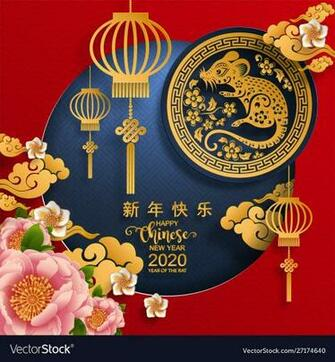 Happy chinese new year 2020 year rat Royalty Vector