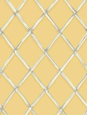 trellis wallpaper in taupes and white on a strong golden yellow