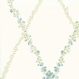 Blue Green CKB77712 Peony Trellis Wallpaper CKB77712