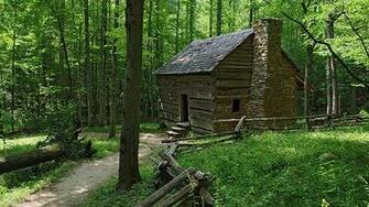 Nature Trail Dressed Log Cabin HD Wallpaper Desktop Great Smoky
