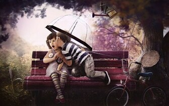 Cute Baby Girl And Boy Kissing On The Bench HD Wallpaper Cute Little