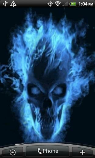 Wallpapers for Android Android Live Wallpapers Blue Skull Flames