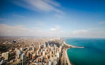Chicago USA Illinois ocean coastline horizon sky clouds